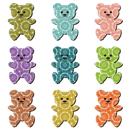 nice scrapbook teddy bears on white Vector