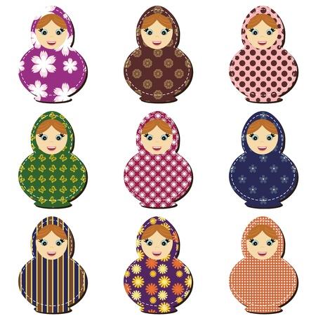 mu�ecas rusas: tradicionales mu�ecas rusas matryoshka libro de recuerdos Vectores