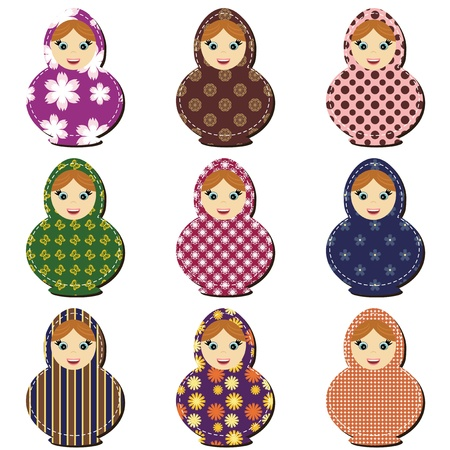traditional russian dolls matryoshka scrapbook Vector