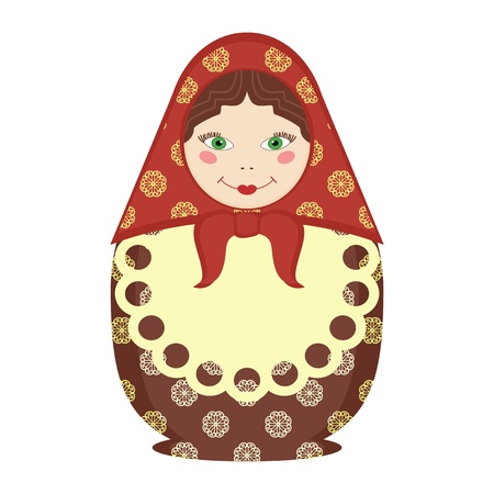 matryoshka doll traditional russian souvenir on white Vector