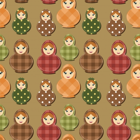 seamless background with traditional russian doll matryoshka Vector