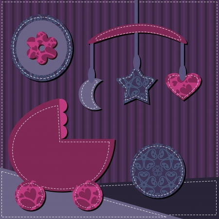 rattle: baby room scrapbook style Illustration