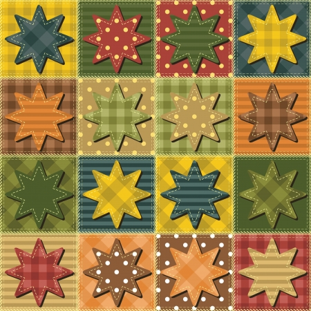 patchwork background with stars Vector