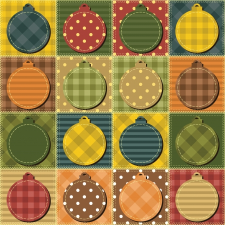 patchwork background with new year decor balls Vector