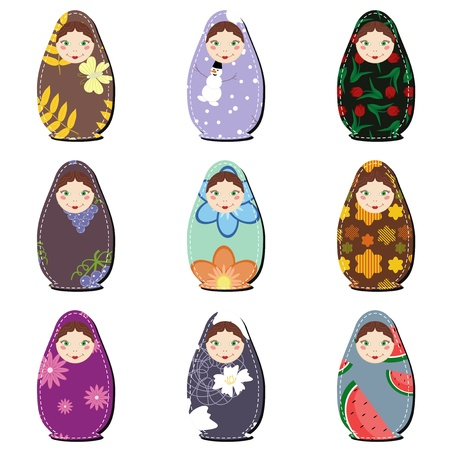 russian nesting dolls: matryoshka dolls scrapbook on white Illustration