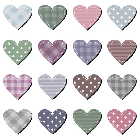 needlework: scrapbook hearts on white background