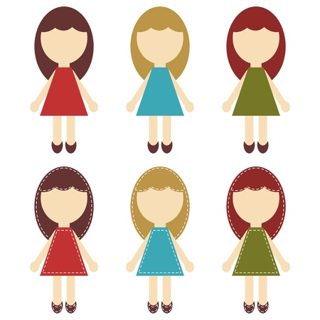 hair bow: scrapbook girls in different dresses Illustration