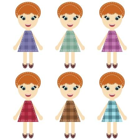 handiwork: scrapbook girls in different dresses Illustration