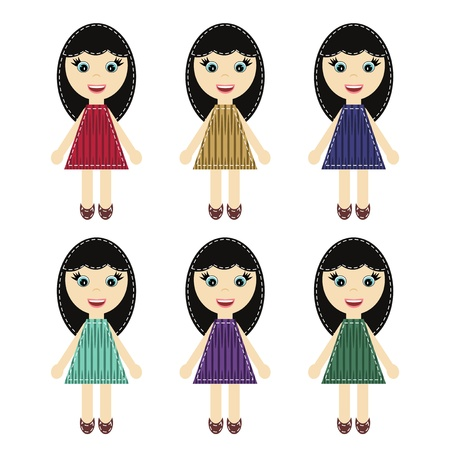 scrapbook girls in different dresses Vector