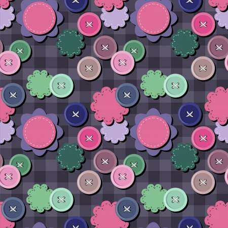 handiwork: seamless background with scrapbook objects and buttons