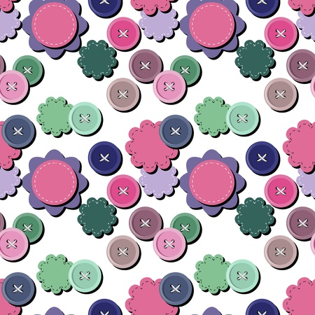 seamless background with scrapbook objects and buttons Vector