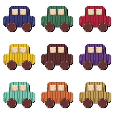 scrapbook cars on white background Illustration