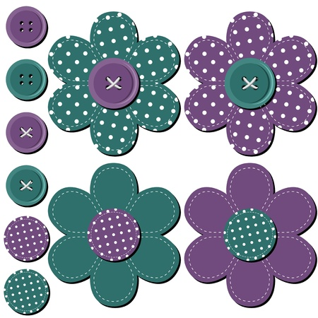 scrapbook flowers on white background Vector