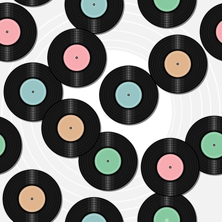 seamless background with vinyl records Illustration