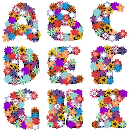 alphabet with flowers on white background  Vector
