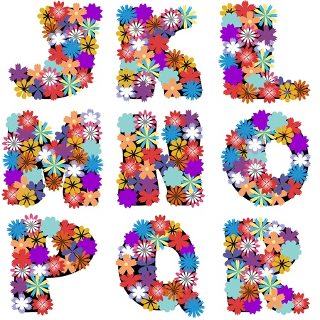 naive: alphabet with flowers on white background