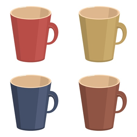 empty cups on white background Vector
