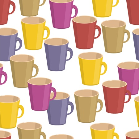 seamless background with cups Vector