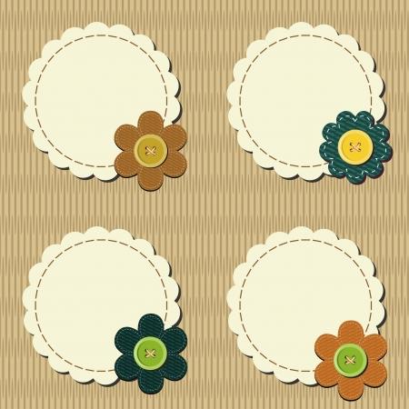 decor scrapbook elements with flowers Vector