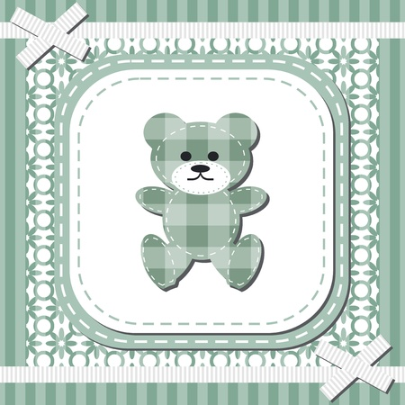 frame with lace and teddy bear Vector