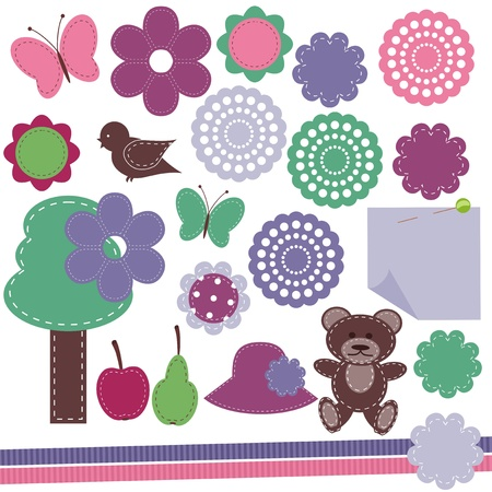 scrapbook objects on white background Stock Vector - 16326432