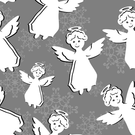aureole: seamless background with angels Illustration