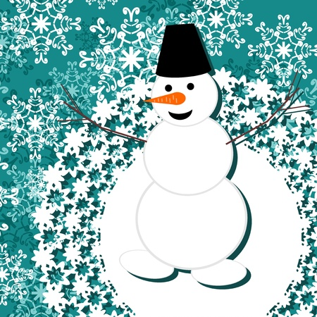 background with snowman Stock Vector - 16503817