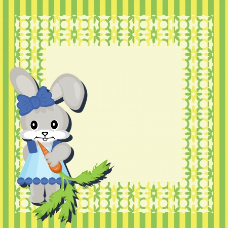 decor scrapbook frame with nice hare Stock Vector - 16503804
