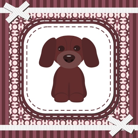 strip a dog: frame with lace and nice dog Illustration