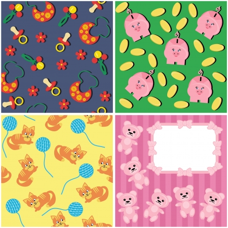 four different children backgrounds Vector