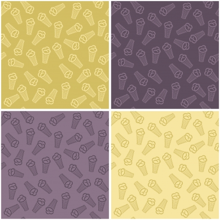 four seamless backgrounds with ice cream Stock Vector - 16696456