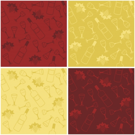 four seamless backgrounds with wine Stock Vector - 16696453