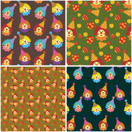 four seamless backgrounds with clowns Stock Vector - 16696457