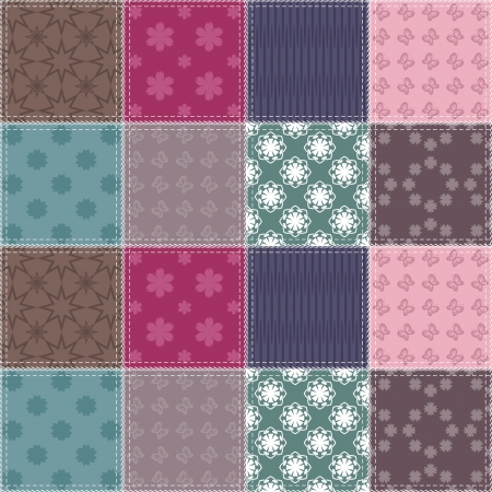 patchwork background with different patterns Stock Vector - 17424489