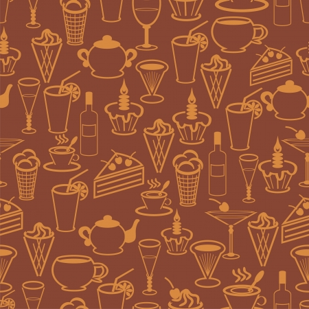 seamless background with drinks and desserts Vector
