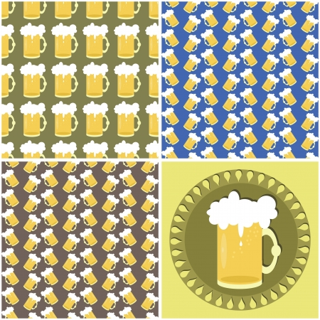 four seamless backgrounds with beer mugs Stock Vector - 17495082