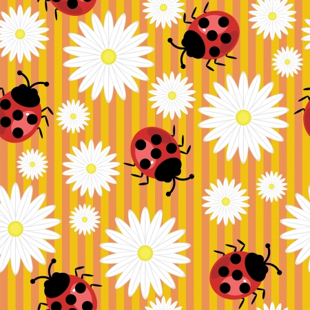 seamless background with ladybirds and flowers Stock Vector - 17495069