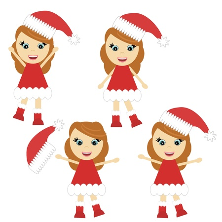Nice little girl in Santa style dress Stock Vector - 17495068
