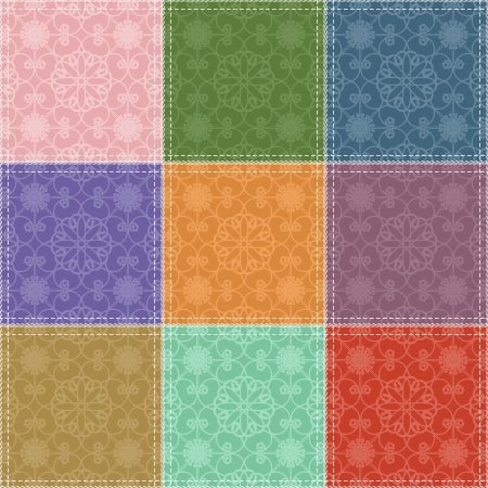 patchwork background with different patterns Stock Vector - 17495076