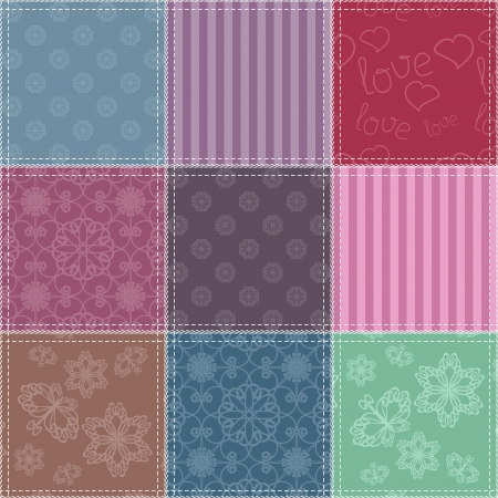 patchwork background with different patterns Stock Vector - 17495077