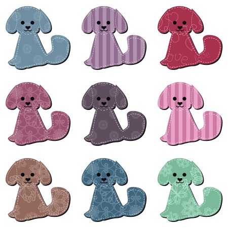 strip a dog: nice scrapbook textile dogs on white