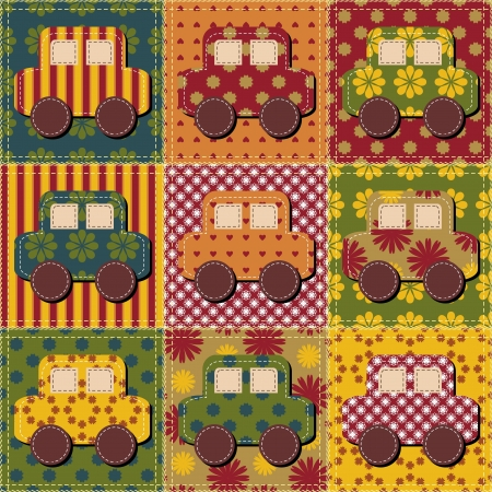 patchwork background with cars