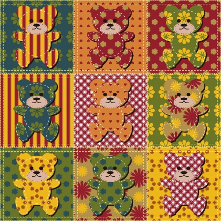 patchwork background with teddy bears Vector