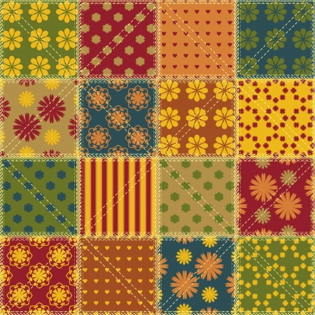 patchwork background with different patterns Stock Vector - 22509806