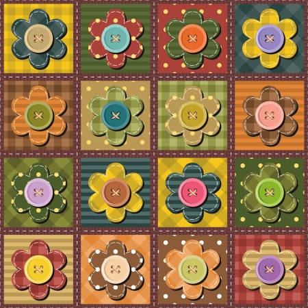 patchwork background with flowers Illustration