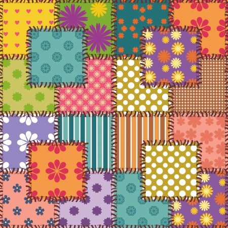 patchwork background with different patterns Stock Vector - 23392234