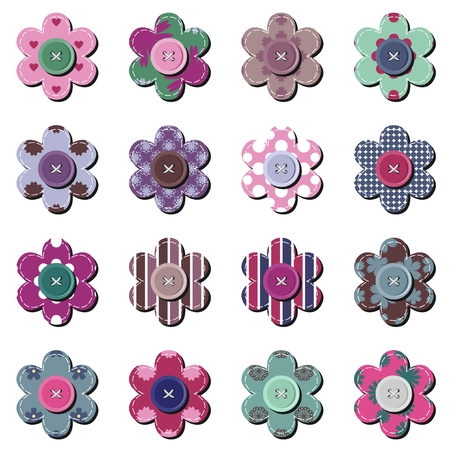 wite: scrapbook flowers on wite background Illustration