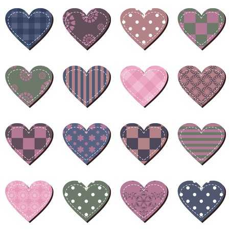 set with scrapbook hearts Vector