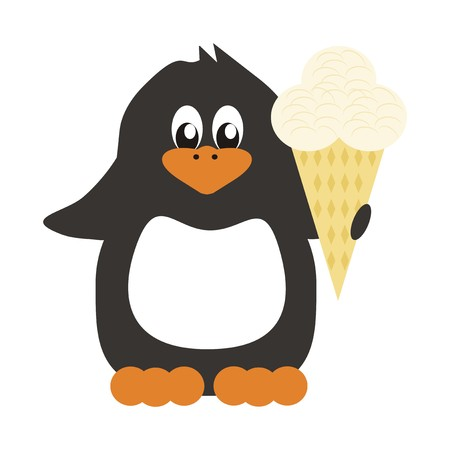 nice penguin on white background with ice cream Vector