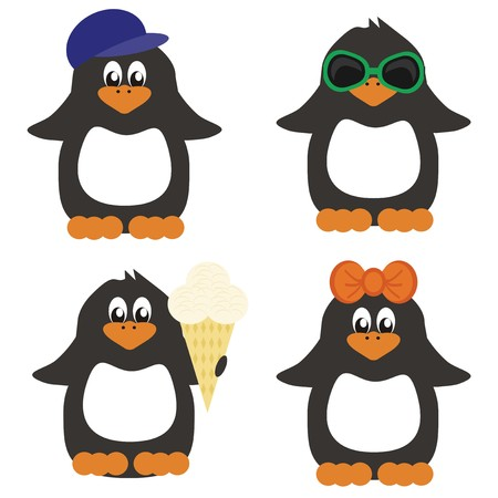 four nice penguins on white background Vector